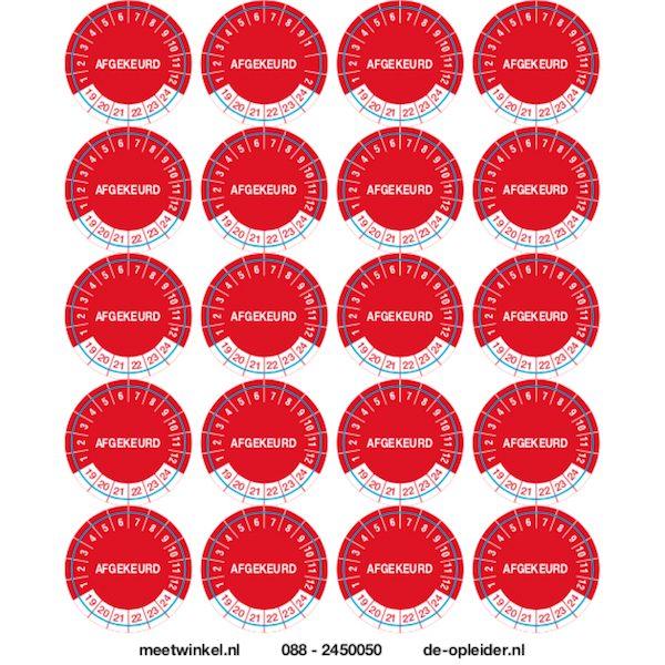 Stickers om de afkeuring van producten aan te geven met een maand en jaartal