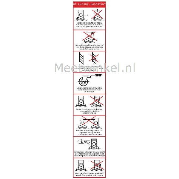 Pictogrammen voor het geven van een instructie voor het veilig gebruik van rolsteigers van meetwinkel, de leverancier van keurend Nederland