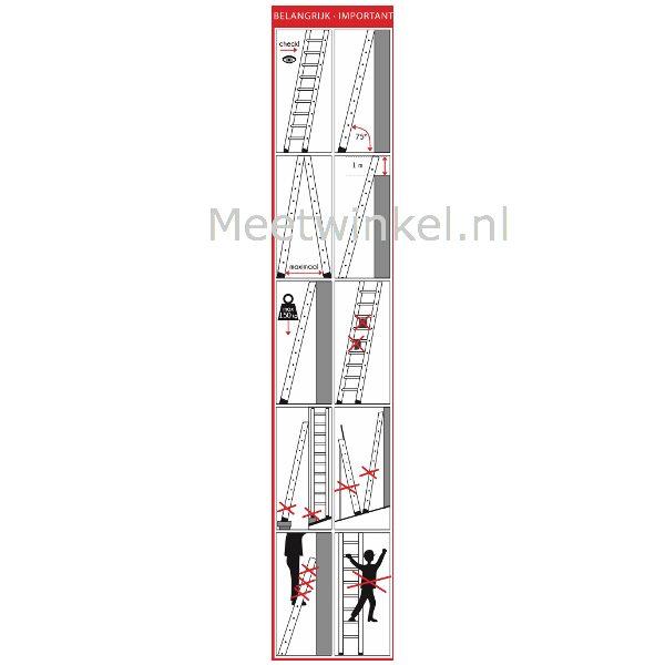 Gebruiksinstructies en pictogrammen voor ladders en trappen van meetwinkel.nl de keuringssticker leverancier van NL