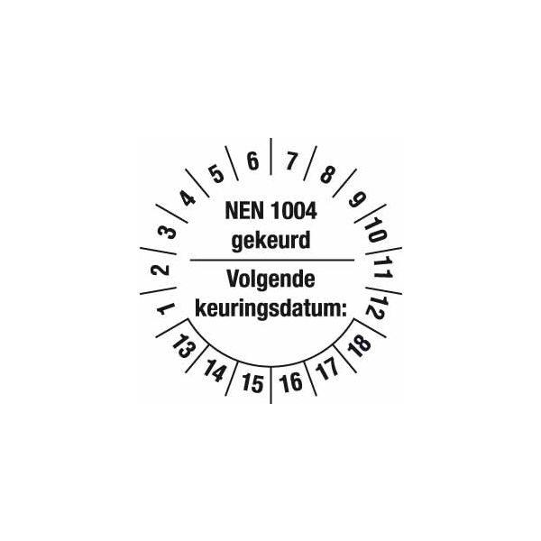 Keuringsstickers NEN 1004 voor het markeren van de vervaldatum van rolsteigers van meetwinkel de marktleider in keuringsstickers.