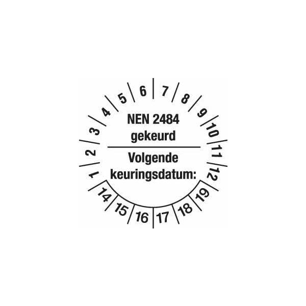 Keuringsstickers voor het markeren van de keuring vervaldatum van ladders en trappen volgens NEN 2484