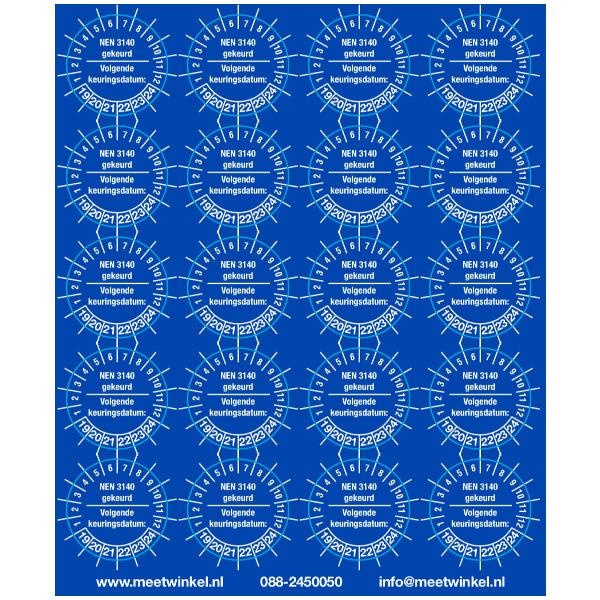 Keuringsstickers NEN 3140 Blauw (set 200 stuks)
