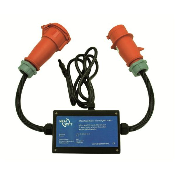 Nieaf-Smitt driefasen lekstroomadapter in 16 of 32A voor de safetypat 3140 of Eazypat 3140 usb van meetwinkel de leverancier van keurend en inspecterend nederland