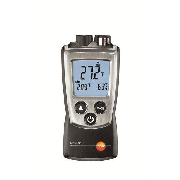 De Testo 810 is een eenvoudige en nauwkeurige contactloze temperatuurmeter van meetwinkel de leverancier van keurend en inspecterend nederland